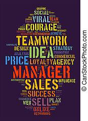gerente, conceito, palavra, nuvem