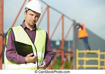 gerente, construtor, trabalhador construção, local