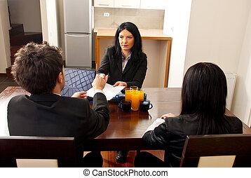 gerente, dar, contrato, sinal