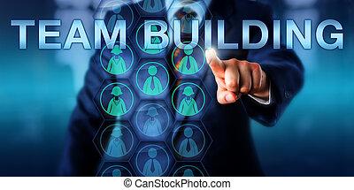 gerente edifício, tocar, equipe, onscreen