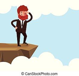 gerente escritório, planificação, desenho, ficar, concept., personagem, isolado, olhar, início, borda, future., novo, apartamento, trabalhador, ilustração, começando, caricatura, homem, gráfico, cima, projeto, vetorial, rocha, homem negócios