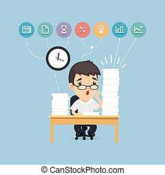 gerente, escritório, trabalhando, triste