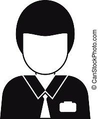 gerente, estilo, escritório, ícone, simples