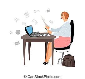 gerente, femininas, trabalho