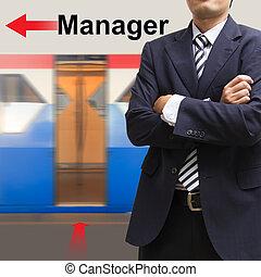 gerente, ligado, a, céu, treine estação