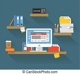 gerente, lugar, escritório, trabalhando