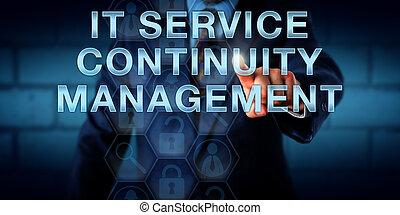 gerente, tocar, aquilo, serviço, continuidade, gerência