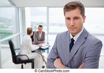 gerente, vendas, ficar, jovem