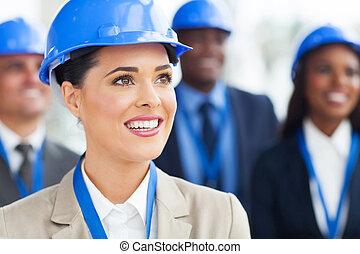gerentes, construção, grupo