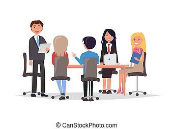 gerentes, informação troca, discuta, trabalho, edições
