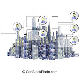 gereproduceerd, 3d, stad skyline, met, organisatie diagram, vrijstaand, op wit, achtergrond
