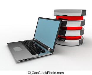 gereproduceerd, databank, illustratie, laptops, concept, 3d
