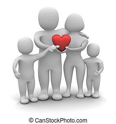 gereproduceerd, family., vrijstaand, illustratie, hartelijk, white., 3d, vrolijke