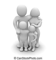 gereproduceerd, family., vrijstaand, illustratie, white., 3d, vrolijke