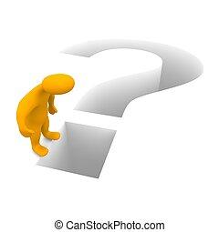 gereproduceerd, illustration., mark., vraag, man, 3d
