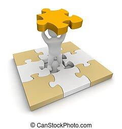 gereproduceerd, illustration., missende , puzzle., man, stuk, 3d