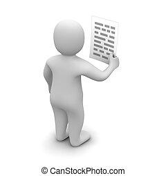 gereproduceerd, illustration., text., papier, vasthouden, 3d, man