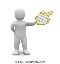 gereproduceerd, illustration., wijzende, groot, cursor., man, muis, 3d