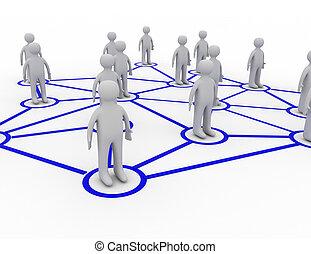 gereproduceerd, networking, succes, illustratie, concept, sociaal, 3d