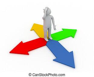 gereproduceerd, persoon, arrows., 3d, pose, nadenkend, staand, illustratie