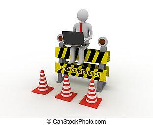 gereproduceerd, zittende , teken., arbeider, illustratie, bouwsector, onder, draagbare computer, 3d