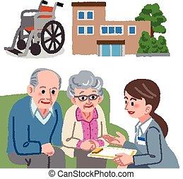 geriatrisch, paar, konsultiert, senioren, manager., sorgfalt