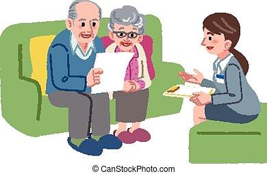geriatrisch, paar, senioren, manager, versammlung, sorgfalt
