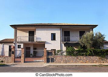 gericht, front, balkons, two-storeyed, hütte, weißes, ansicht