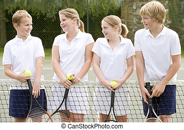 gericht, tennis, junger, schläger, vier, lächeln, friends