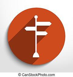 gerichtet, vektor, ikone, zeichen & schilder