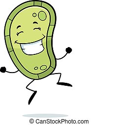A happy cartoon germ jumping and smiling.