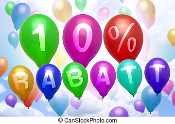 German 10 percent off Rabatt balloon colorful balloons