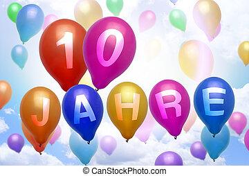 German 10 years balloon colorful balloons