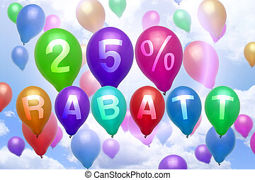 German 25 percent off Rabatt balloon colorful balloons