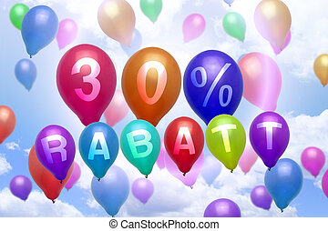 German 30 percent off Rabatt balloon colorful balloons