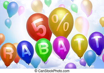 German 5 percent off Rabatt balloon colorful balloons