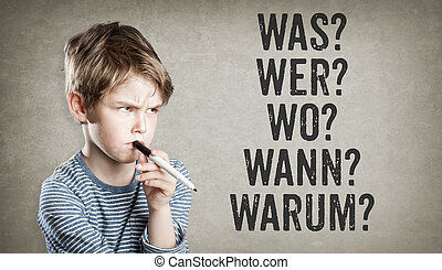 German 5W questions, what, who, where, when, why, Boy on grunge background