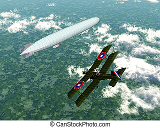German Airship and Biplane - Computer generated 3D...