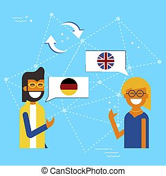 German and English online chat translation concept