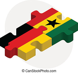 German and Ghanaian Flags in puzzle isolated on white background