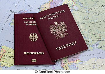 german and polish passport on the map