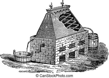 German Apparatus for the Distillation of Urine, vintage ...