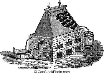 German Apparatus for the Distillation of Urine, vintage engraving