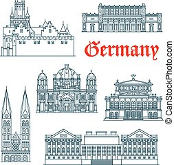 Most popular tourist attractions of german architecture icon with linear symbols of Berlin Cathedral and Alte Oper concert hall, St. Peter's Cathedral and Marienburg Castle, Pergamon and Kunsthalle Museums. Travel design usage