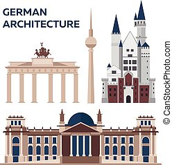 German architecture. Modern flat design. Vector illustration.
