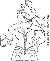 German Barmaid Serving Beer Drawing - Drawing sketch style...