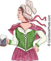 German Barmaid Serving Beer Watercolor - Watercolor style...