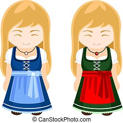 German, bavarian girls in national dress, traditional clothes.