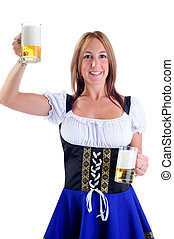 German Beer - Beautiful Woman Wearing A Traditional Dirndl...