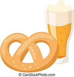 German breakfast, pretzel beer  illustration.